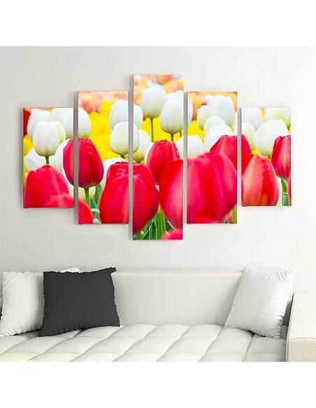 Composition de 5 tableaux TULIPES BLANCHES ET ROUGES imprimé sur toile - par Feeby