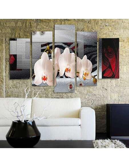 Composition de 5 tableaux ORCHIDÉE BLANCHE imprimé sur toile - par Feeby