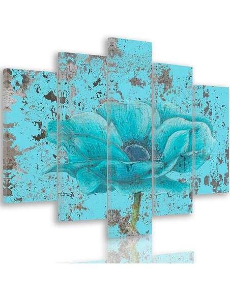 Composition de 5 tableaux FLEUR BLEUE imprimé sur toile - par Feeby