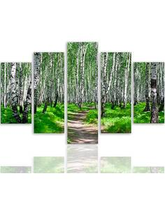 Composition de 5 tableaux FORÊT DE BOULEAUX 2 imprimé sur toile - par Feeby