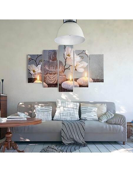 Composition de 5 tableaux BOUDDHA imprimé sur toile - par Feeby