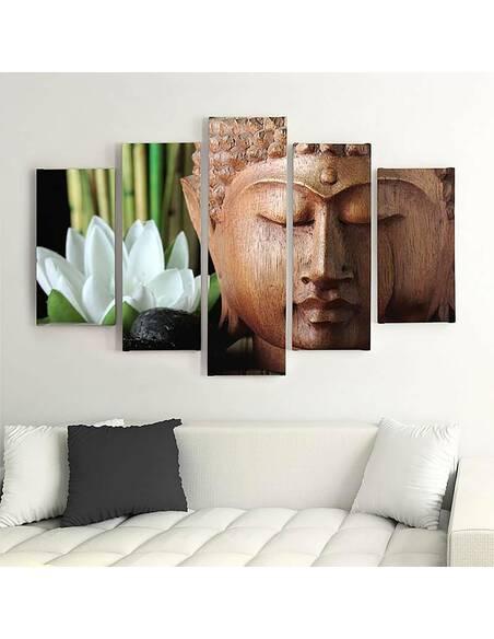 Composition de 5 tableaux BOUDDHA 3 imprimé sur toile - par Feeby