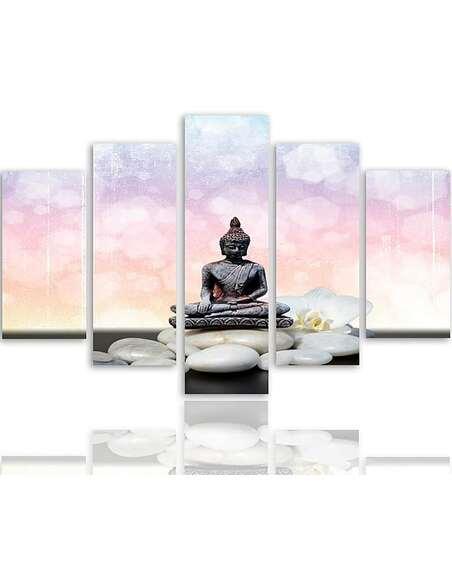Composition de 5 tableaux 5 BOUDDHA imprimé sur toile - par Feeby