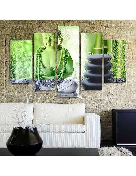 Composition de 5 tableaux BOUDDHA ET PIERRES imprimé sur toile - par Feeby