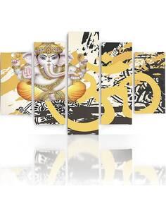 Composition de 5 tableaux ÉLÉPHANT BOUDDHA imprimé sur toile - par Feeby