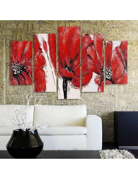 Composition de 5 tableaux FLEURS ROUGES imprimé sur toile - par Feeby