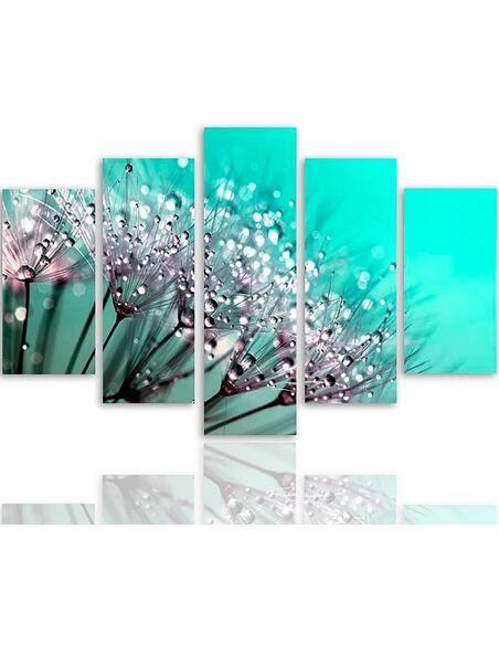 Composition de 5 tableaux PISSENLIT ET ROSÉE imprimé sur toile - par Feeby