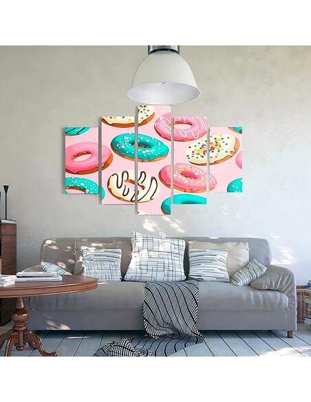 Composition de 5 tableaux DONUTS imprimé sur toile - par Feeby
