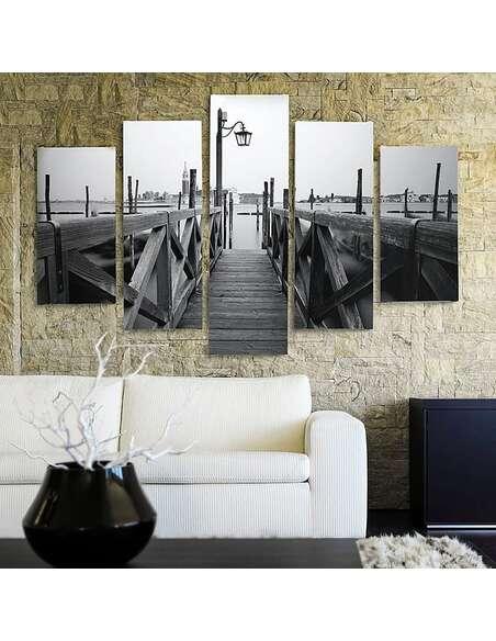 Composition de 5 tableaux PONT DE BOIS imprimé sur toile - par Feeby