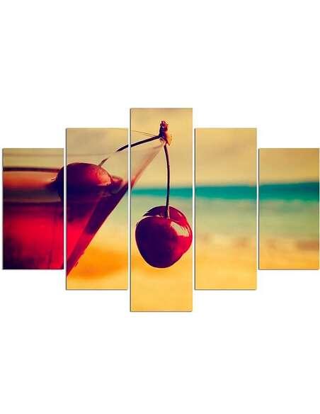 Composition de 5 tableaux CHERRY DRINK imprimé sur toile - par Feeby