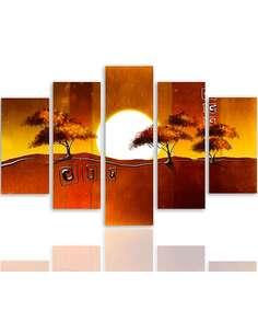Composition de 5 tableaux ARBRES AU LEVER DU SOLEIL imprimé sur toile - par Feeby