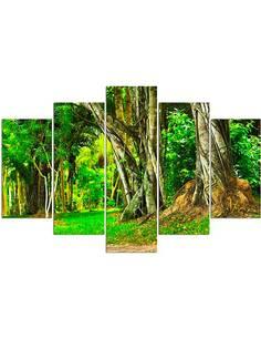 Composition de 5 tableaux LES ARBRES DANS LE PARC imprimé sur toile - par Feeby