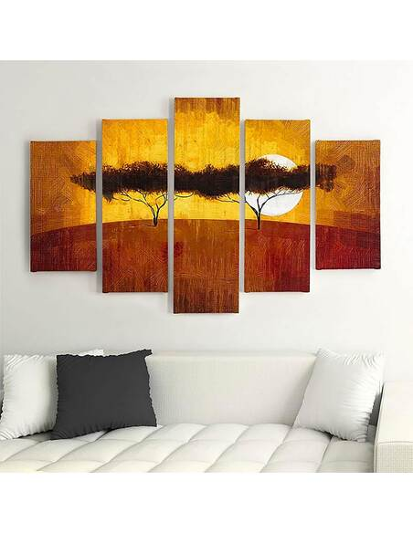 Composition de 5 tableaux A DEUX ARBRES imprimé sur toile - par Feeby