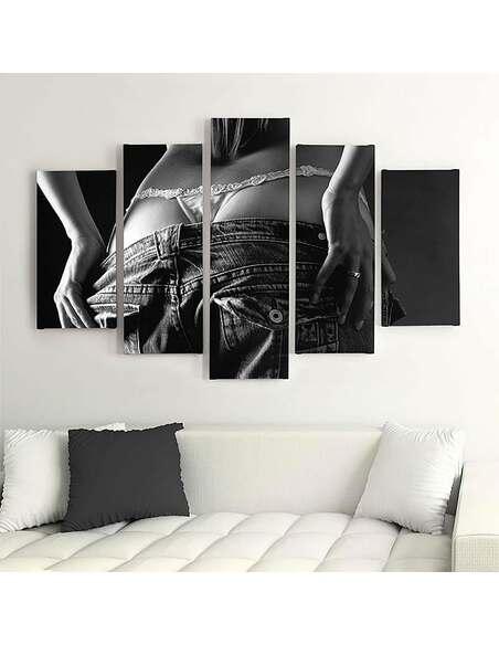 Composition de 5 tableaux FILLE JEANS imprimé sur toile - par Feeby