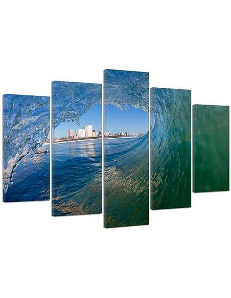 Composition de 5 tableaux VAGUE AVEC VUE SUR LA VILLE imprimé sur toile - par Feeby