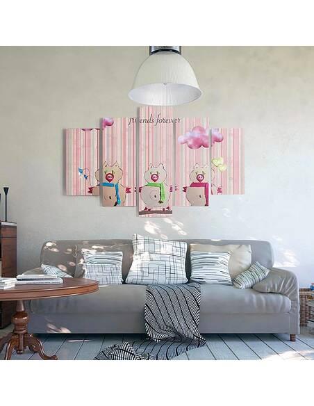 Composition de 5 tableaux AMIS POUR TOUJOURS imprimé sur toile - par Feeby