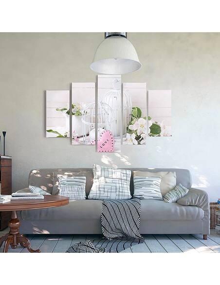 Composition de 5 tableaux POMME BRINDILLE imprimé sur toile - par Feeby