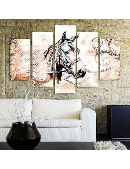 Composition de 5 tableaux A TÊTE DE CHEVAL 3 imprimé sur toile - par Feeby