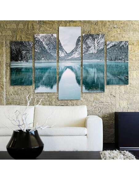 Composition de 5 tableaux PAYSAGE DE MONTAGNE imprimé sur toile - par Feeby
