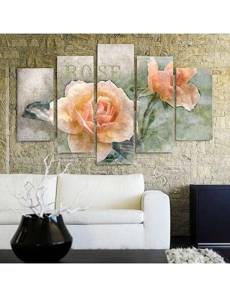 Composition de 5 tableaux A ROSES DE THÉ imprimé sur toile - par Feeby