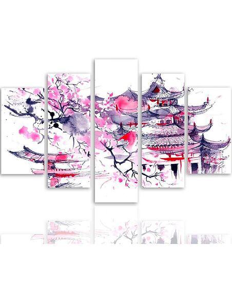 Composition de 5 tableaux UN PAYSAGE JAPONAIS imprimé sur toile - par Feeby