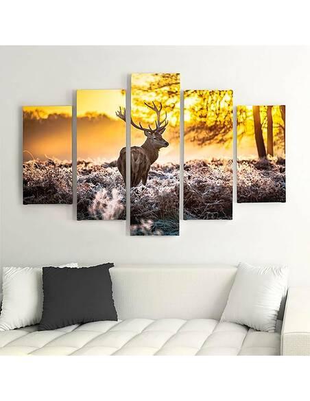 Composition de 5 tableaux UN CERF AU COUCHER DU SOLEIL imprimé sur toile - par Feeby