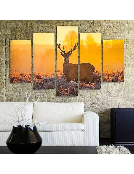 Composition de 5 tableaux COUCHER DE SOLEIL CERF 2 imprimé sur toile - par Feeby