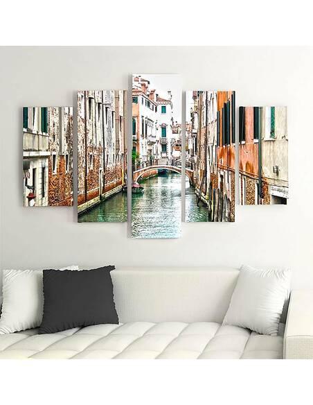 Composition de 5 tableaux CANAL DE VENISE imprimé sur toile - par Feeby