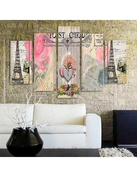 Composition de 5 tableaux DE TYPE CARTE POSTALE DE PARIS imprimé sur toile - par Feeby