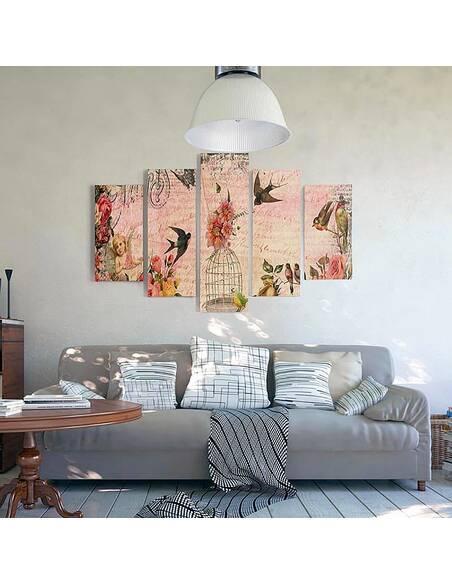 Composition de 5 tableaux UNE CARTE DE PARIS imprimé sur toile - par Feeby