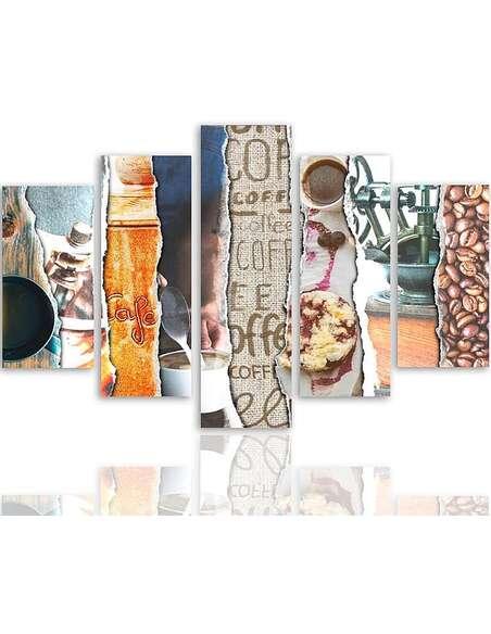 Composition de 5 tableaux CAFÉ PHOTOCOLLAGES imprimé sur toile - par Feeby