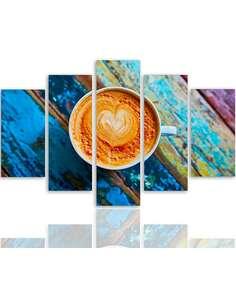 Composition de 5 tableaux 2 CAFÉ imprimé sur toile - par Feeby