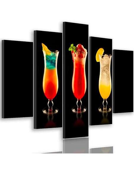 Composition de 5 tableaux COCKTAILS imprimé sur toile - par Feeby