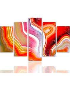 Composition de 5 tableaux ABSTRACTION COULEUR 1 imprimé sur toile - par Feeby