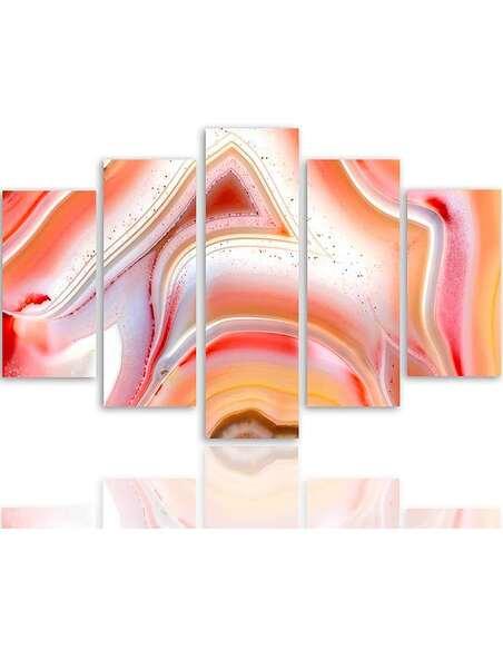 Composition de 5 tableaux 2 ABSTRACTION COULEUR imprimé sur toile - par Feeby