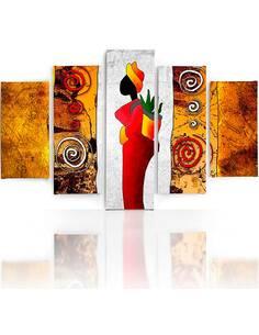Composition de 5 tableaux DAME COLORÉE imprimé sur toile - par Feeby