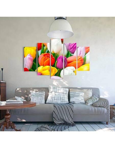 Composition de 5 tableaux A TULIPES COLORÉES imprimé sur toile - par Feeby