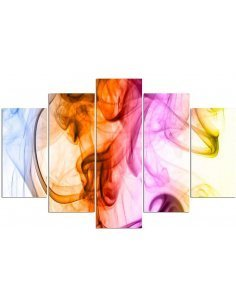 Composition de 5 tableaux LA FUMÉE DE COULEUR ABSTRACTION imprimé sur toile - par Feeby