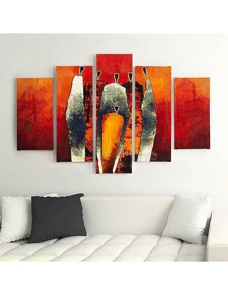 Composition de 5 tableaux FIGURATIVE imprimé sur toile - par Feeby