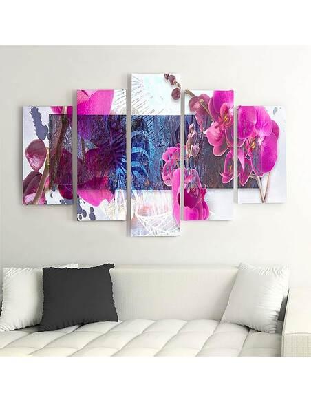 Composition de 5 tableaux ORCHIDÉE 1 imprimé sur toile - par Feeby