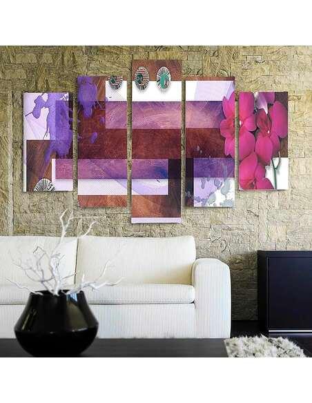 Composition de 5 tableaux D'ORCHIDÉE DES MARAIS imprimé sur toile - par Feeby