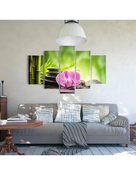 Composition de 5 tableaux ZEN 3 imprimé sur toile - par Feeby