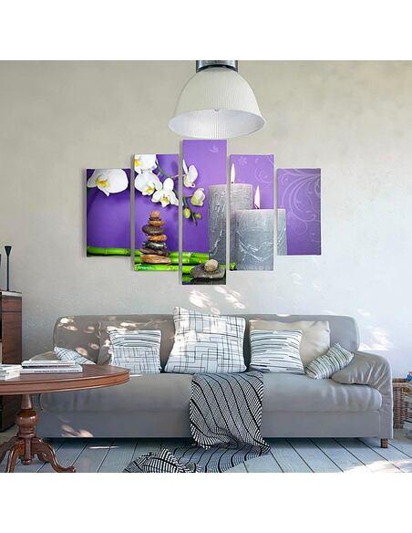 Composition de 5 tableaux ZEN 7 imprimé sur toile - par Feeby