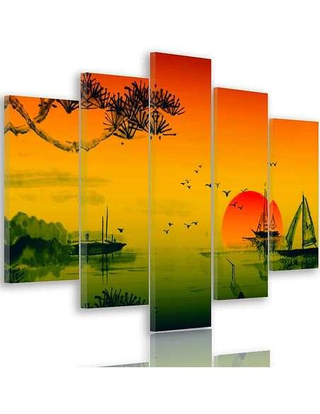 Composition de 5 tableaux PAYSAGE JAPON 2 imprimé sur toile - par Feeby