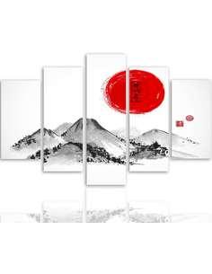 Composition de 5 tableaux PAYSAGE JAPON 3 imprimé sur toile - par Feeby