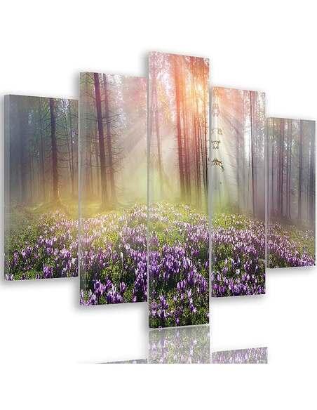 Composition de 5 tableaux DE COMPENSATION CROCUS imprimé sur toile - par Feeby
