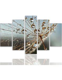 Composition de 5 tableaux TOILE D'ARAIGNÉE ET DES GOUTTES DE ROSÉE imprimé sur toile - par Feeby