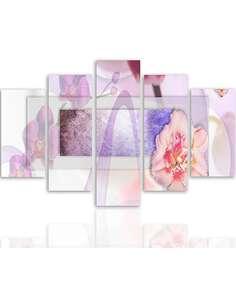 Composition de 5 tableaux UNE FLORALE 1 imprimé sur toile - par Feeby