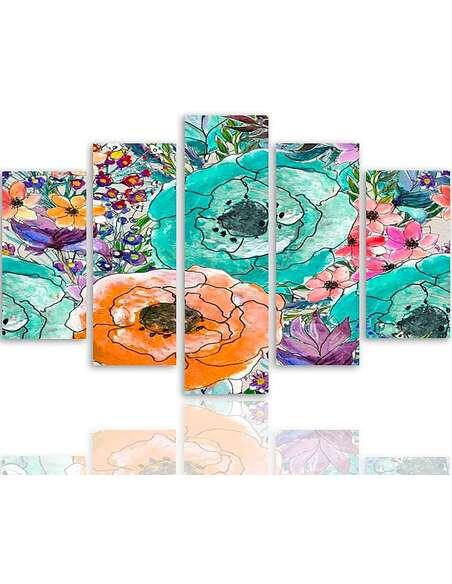 Composition de 5 tableaux UNE FLORALE 2 imprimé sur toile - par Feeby
