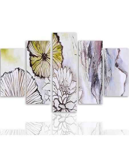 Composition de 5 tableaux FLEURS ABSTRACTION imprimé sur toile - par Feeby